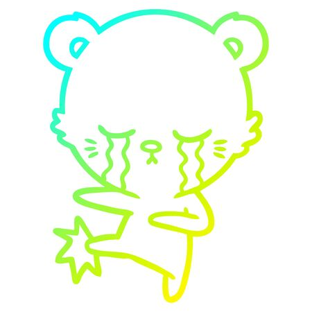 cold gradient line drawing of a crying cartoon polarbear