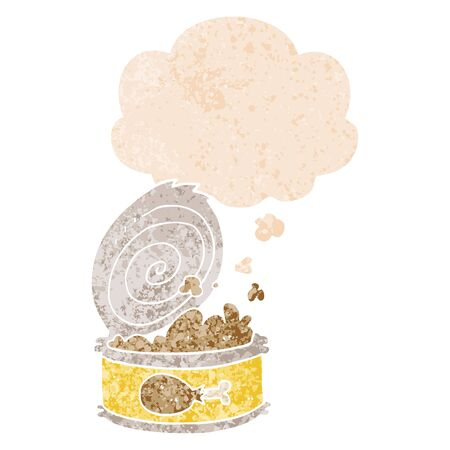 cartoon canned food with thought bubble in grunge distressed retro textured style