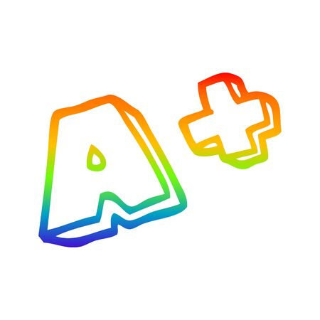 rainbow gradient line drawing of a cartoon letter grades