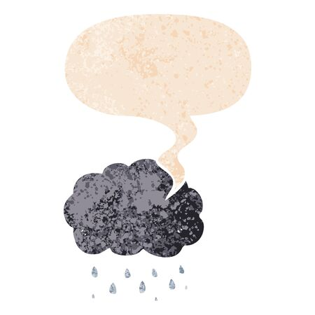 cartoon cloud raining with speech bubble in grunge distressed retro textured style
