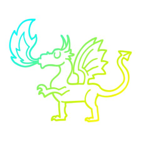 cold gradient line drawing of a cartoon red dragon