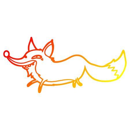 warm gradient line drawing of a cute cartoon sly fox