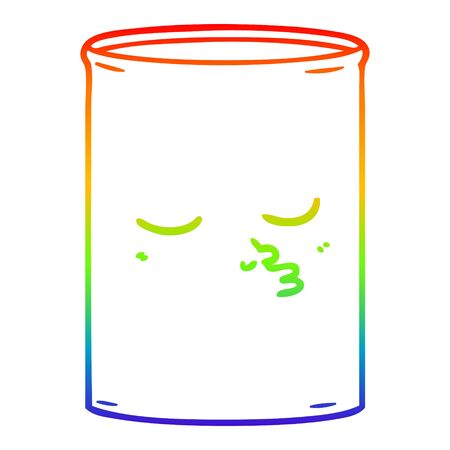 rainbow gradient line drawing of a cartoon barrel of oil