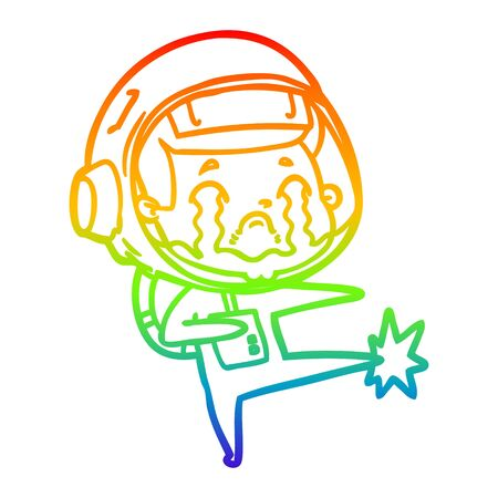 rainbow gradient line drawing of a cartoon crying astronaut