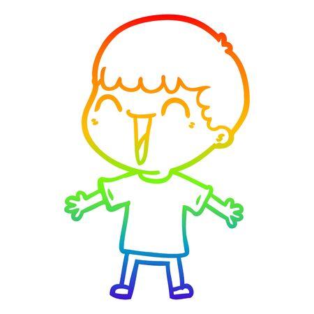 rainbow gradient line drawing of a cartoon happy man 일러스트