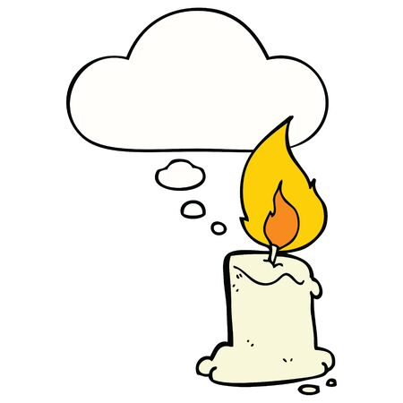 cartoon candle with thought bubble
