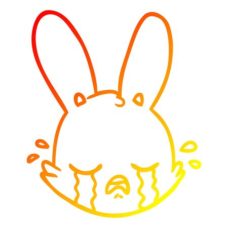warm gradient line drawing of a cartoon crying bunny face