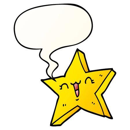 cute cartoon star with speech bubble in smooth gradient style Ilustração