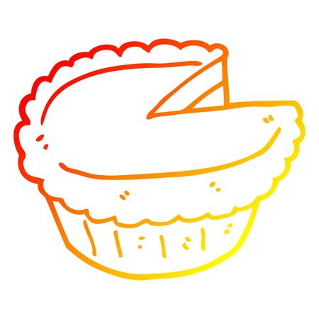 warm gradient line drawing of a cartoon pie