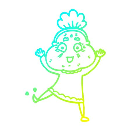 cold gradient line drawing of a cartoon happy old woman Illustration