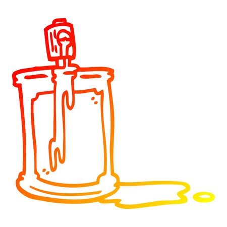 warm gradient line drawing of a cartoon spray can