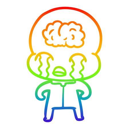 rainbow gradient line drawing of a cartoon big brain alien crying