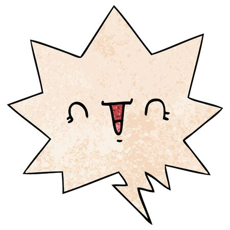happy cartoon face with speech bubble in retro texture style