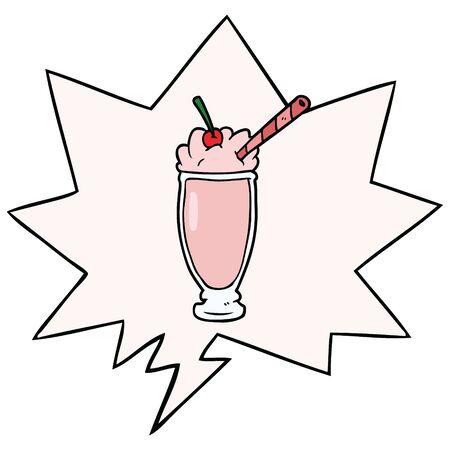 cartoon milkshake with speech bubble