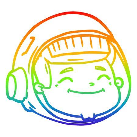 rainbow gradient line drawing of a cartoon astronaut face 일러스트