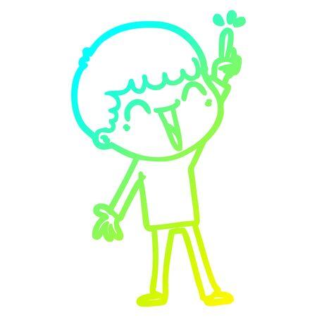 cold gradient line drawing of a cartoon happy man 일러스트