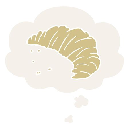 cartoon croissant with thought bubble in retro style