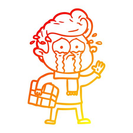 warm gradient line drawing of a cartoon crying man with present