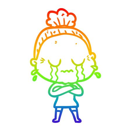 rainbow gradient line drawing of a cartoon crying old lady