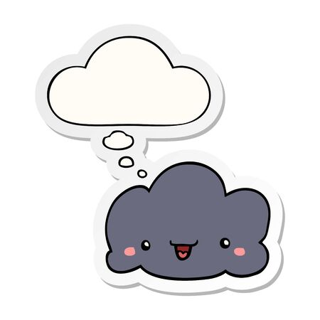 cute cartoon cloud with thought bubble as a printed sticker