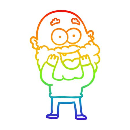 rainbow gradient line drawing of a cartoon crazy happy man with beard gasping