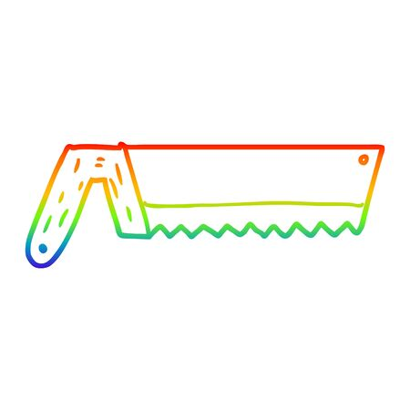 rainbow gradient line drawing of a old saw cartoon