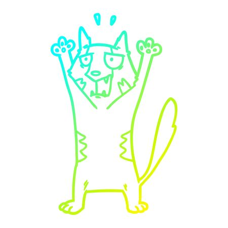 cold gradient line drawing of a cartoon panicking cat Illustration