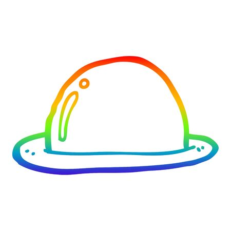 rainbow gradient line drawing of a cartoon bowler hat
