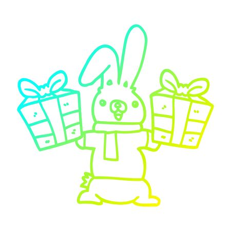 cold gradient line drawing of a cartoon rabbit with christmas presents Stock Illustratie