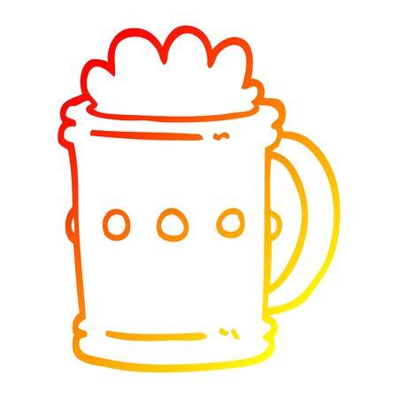 warm gradient line drawing of a cartoon beer tankard Ilustração