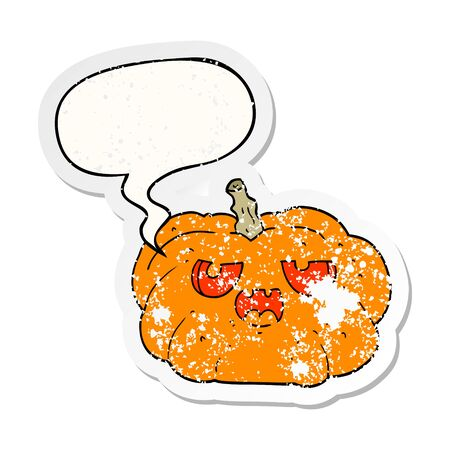 cartoon pumpkin with speech bubble distressed distressed old sticker
