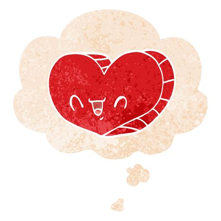 cartoon love heart with thought bubble in grunge distressed retro textured style