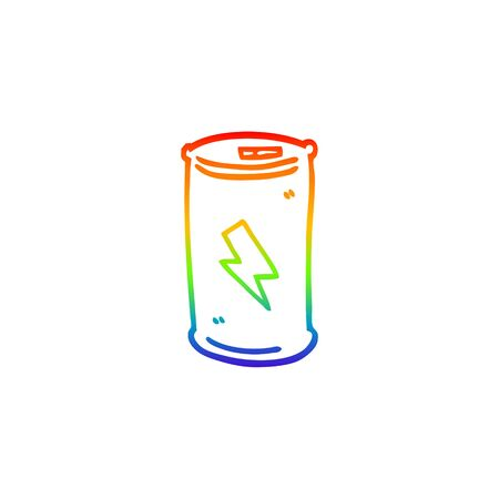 rainbow gradient line drawing of a cartoon electric battery