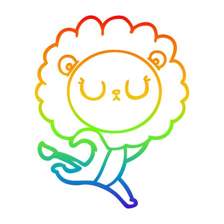 rainbow gradient line drawing of a cartoon running lion  イラスト・ベクター素材