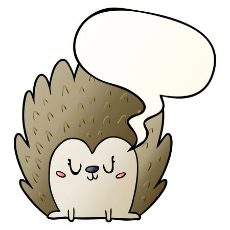 cute cartoon hedgehog with speech bubble in smooth gradient style