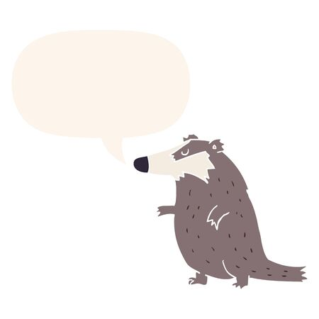 cartoon badger with speech bubble in retro style