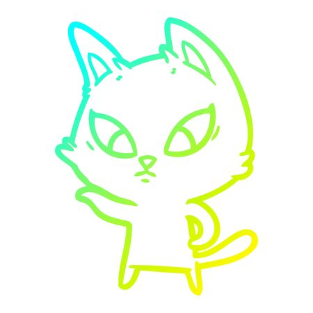 cold gradient line drawing of a confused cartoon cat