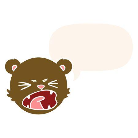 cute cartoon teddy bear face with speech bubble in retro style 向量圖像