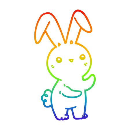 rainbow gradient line drawing of a cute cartoon rabbit Stock Illustratie