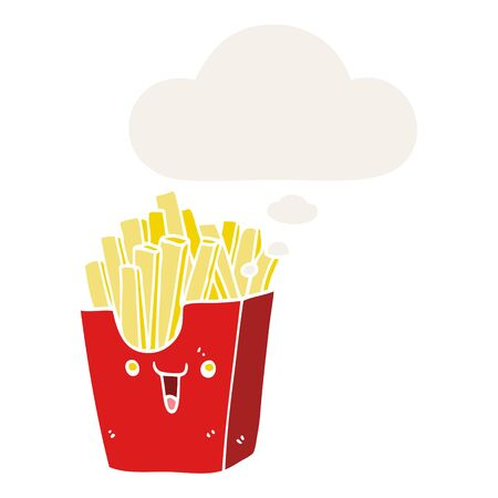 cute cartoon box of fries with thought bubble in retro style