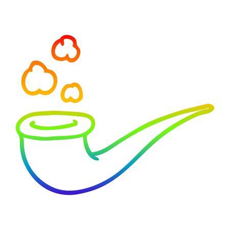 rainbow gradient line drawing of a cartoon smoking pipe Stok Fotoğraf - 129715760