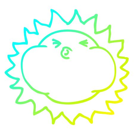 cold gradient line drawing of a cartoon shining sun 일러스트