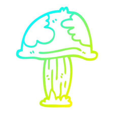 cold gradient line drawing of a cartoon poisonous toadstool Stock fotó - 129715905