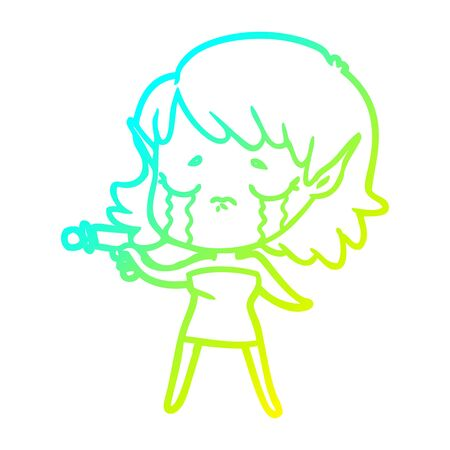 cold gradient line drawing of a cartoon crying elf girl