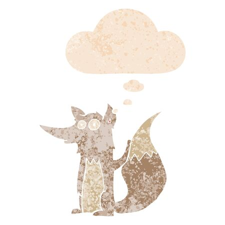 cartoon wolf with thought bubble in grunge distressed retro textured style Ilustração