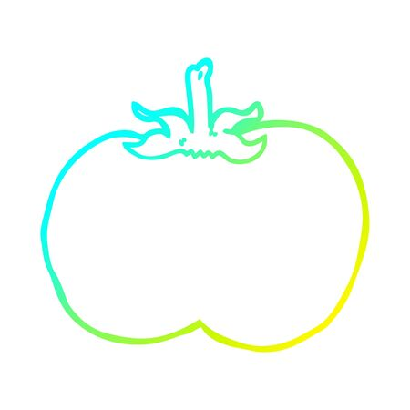 cold gradient line drawing of a cartoon tomato