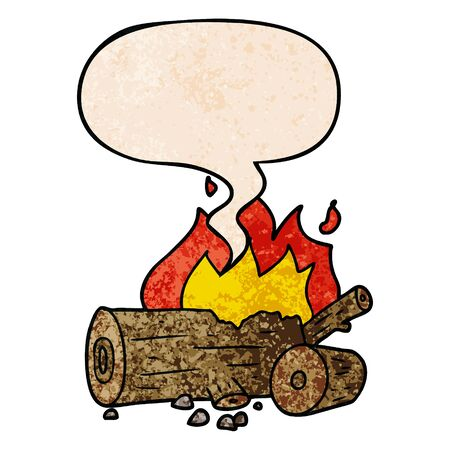 cartoon camp fire with speech bubble in retro texture style