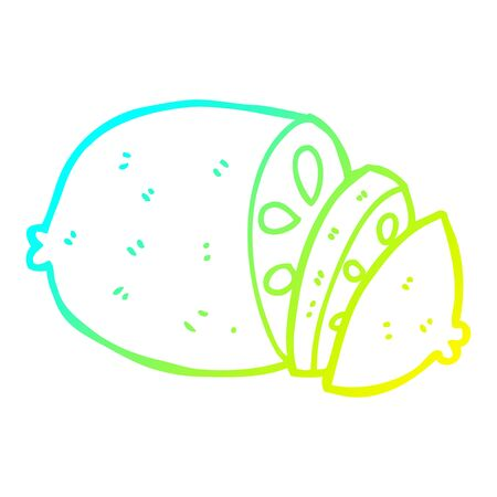 cold gradient line drawing of a cartoon sliced lemon