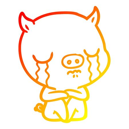warm gradient line drawing of a cartoon sitting pig crying  イラスト・ベクター素材