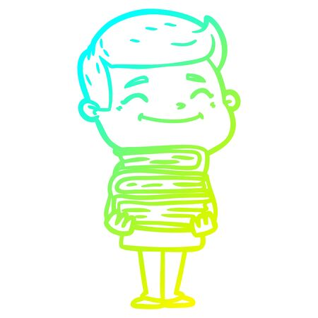 cold gradient line drawing of a happy cartoon man with stack of books Illustration